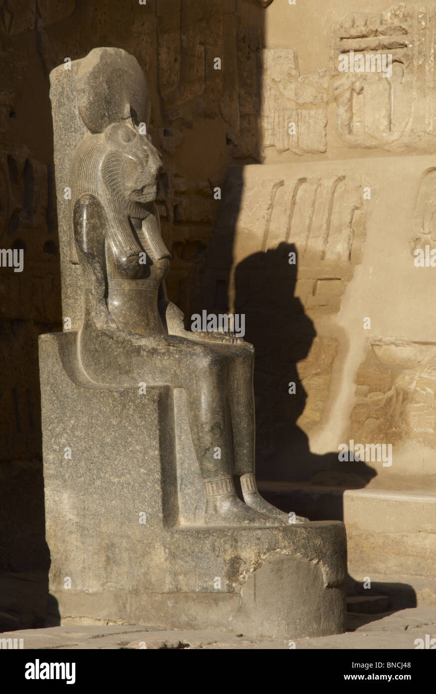 Goddess Sekhmet, goddess of war, represented with head of a lioness and the human body and crowned with the solar Stock Photo