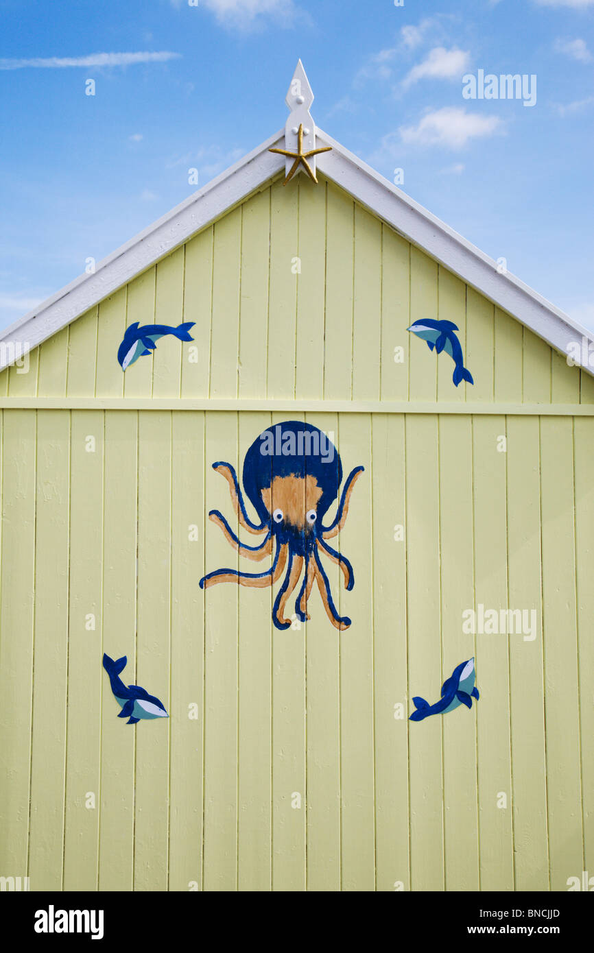 Decoration on a beach hut in Felixstowe seaside town, Suffolk, England. - Stock Image