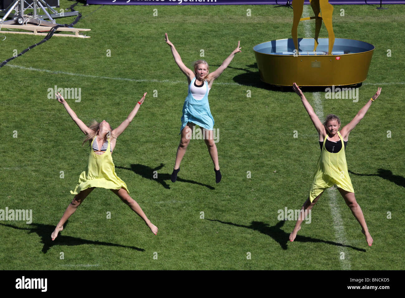Opening Ceremony rehearsal at Natwest Island Games 2009 in Mariehamn in Åland June 27 2009 - Stock Image
