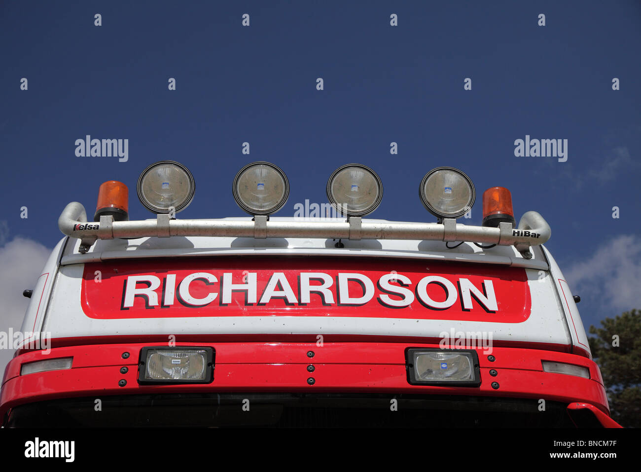 Lorry roof headlamps for Richardson company - Stock Image