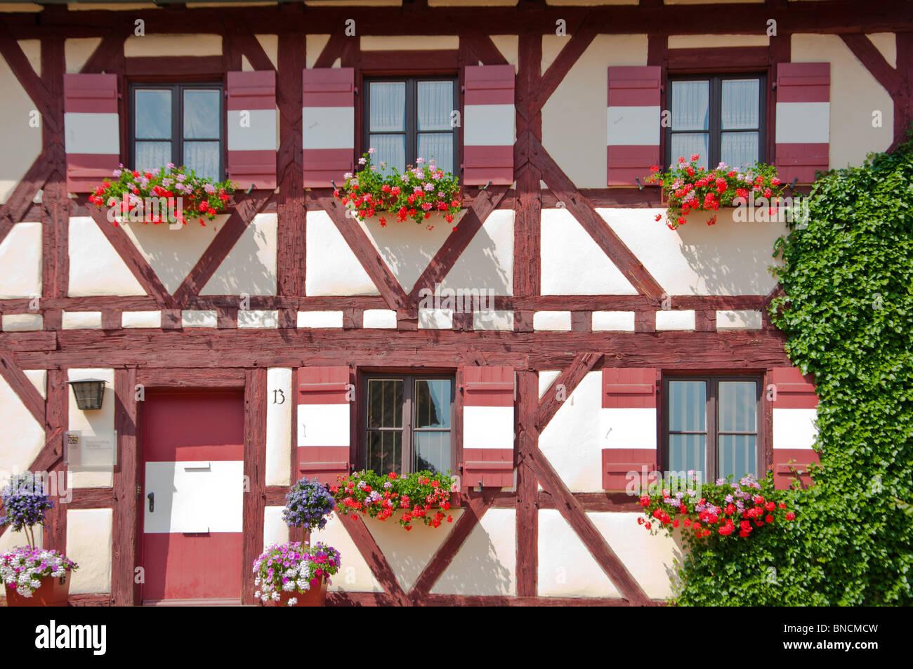 Medieval wood framed buildings at Kaiserburg Castle in Nuremburg, Germany. - Stock Image