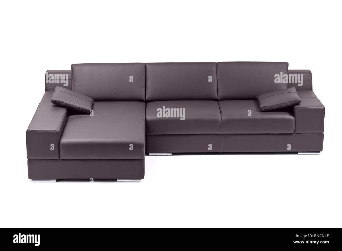 modern black leather sofa - Stock Image