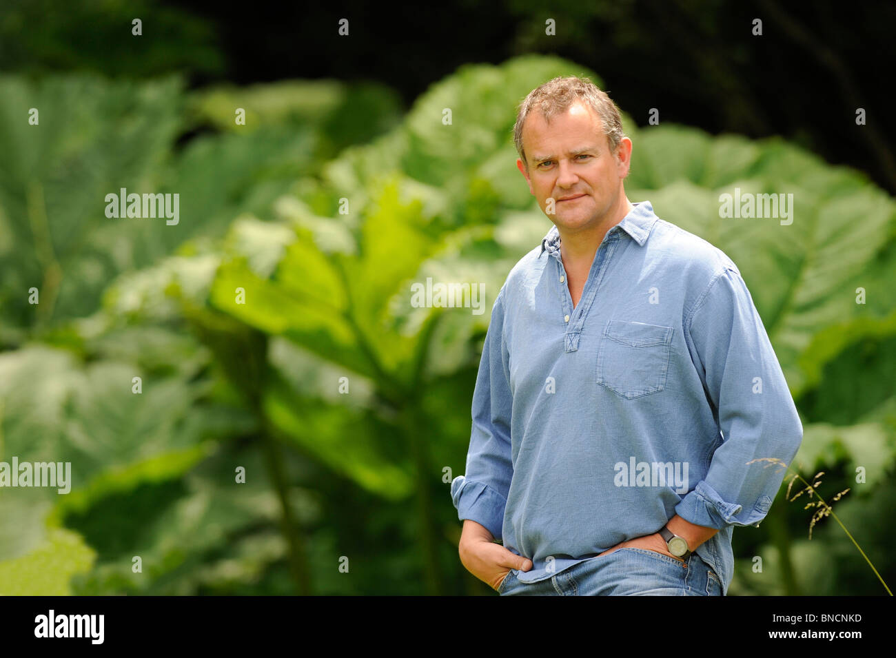 Actor Hugh Bonneville photographed on the South Downs in West Sussex near Chichester. - Stock Image