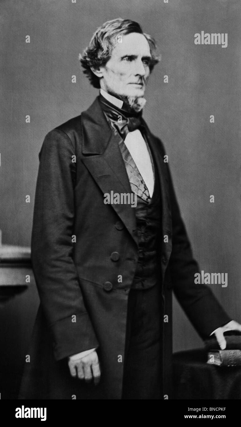 Portrait photo circa 1860 of Jefferson Davis (1808 - 1889) - President of the Confederate States of America from - Stock Image