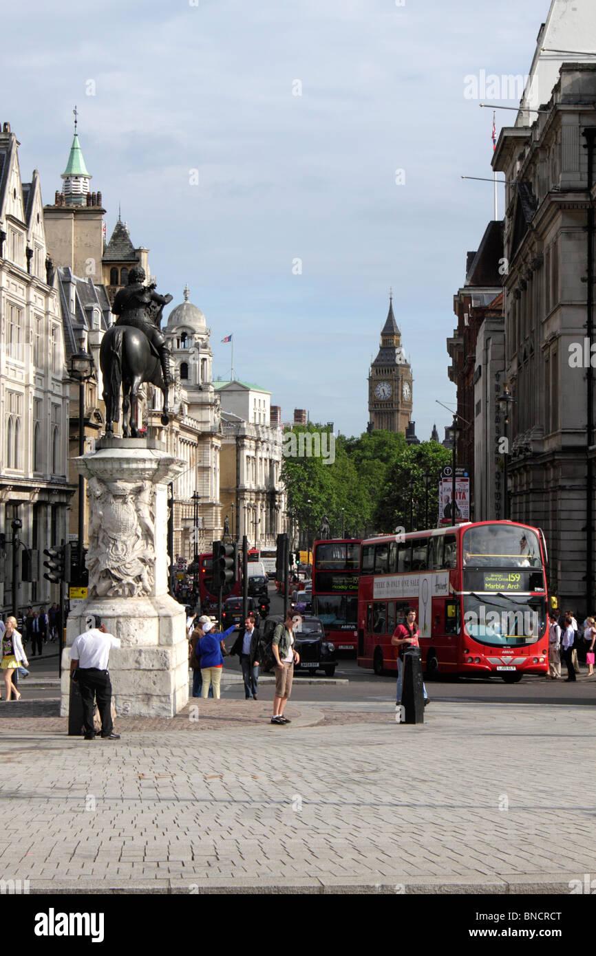 Trafalgar Square towards Westminster London summer 2010 Stock Photo