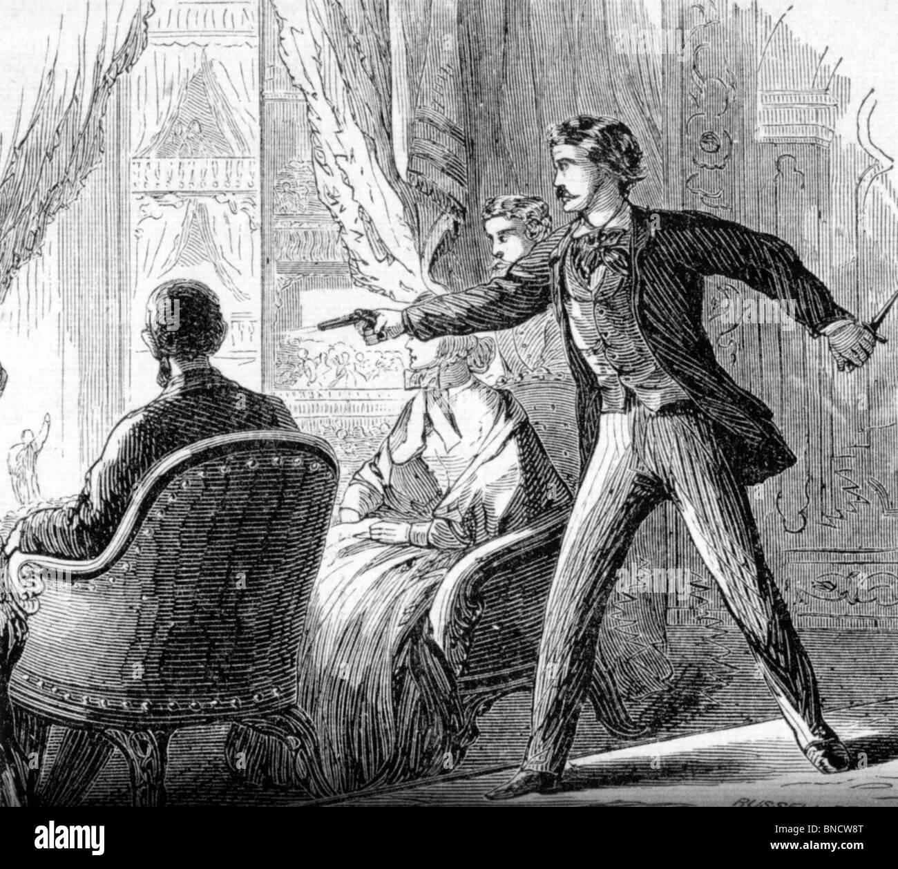 ABRAHAM LINCOLN assassination 14 April 1865 at Ford's Theatre, Washington,  by actor John Wilkes Booth