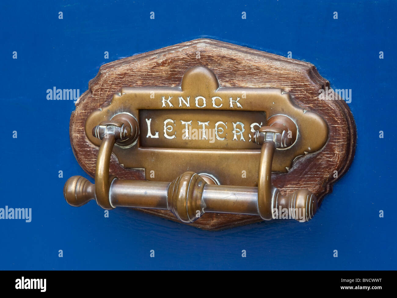 Brass letter box, England - Stock Image
