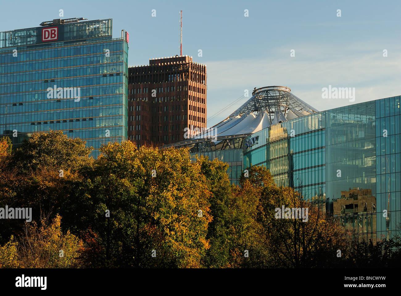 Potsdamer Platz. Skyline seen from the Grosser Tiergarten park, with DB Tower, Kollhoff building, Sony Center, Berlin, - Stock Image