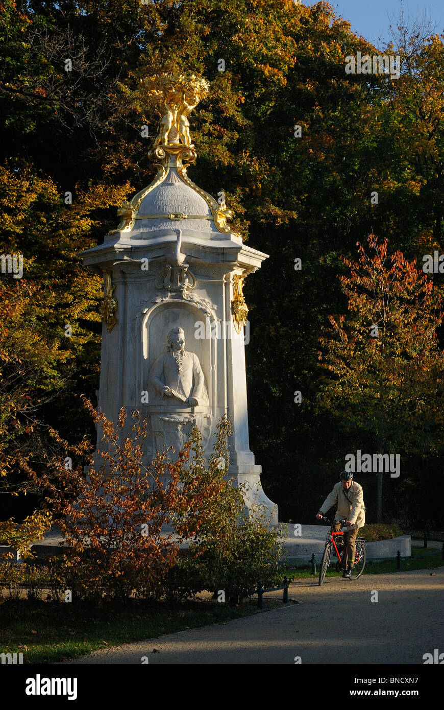 Beethoven-Haydn-Mozart-Denkmal, Komponistendenkmal composers memorial. Grosser Tiergarten park in fall, Berlin, - Stock Image