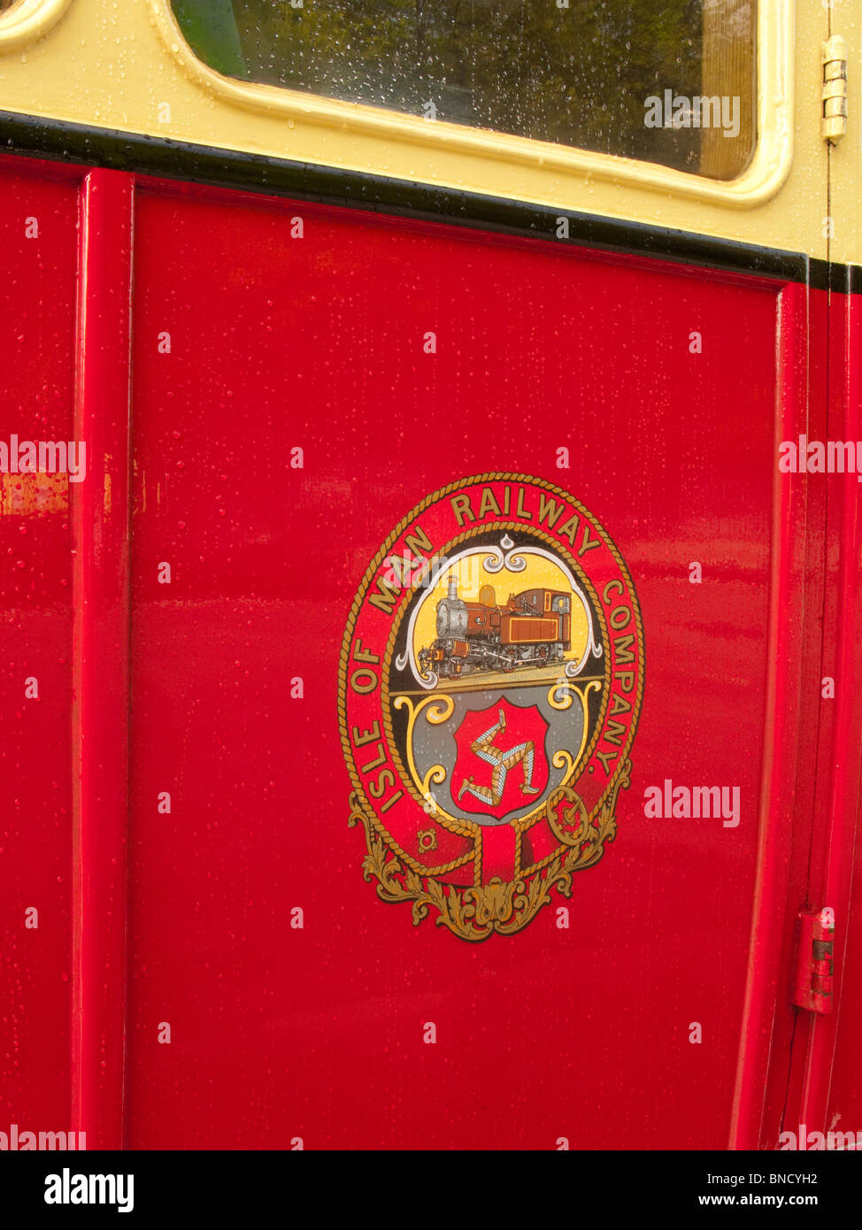 Close up of insignia on steam railway carriage, Isle of man Stock Photo