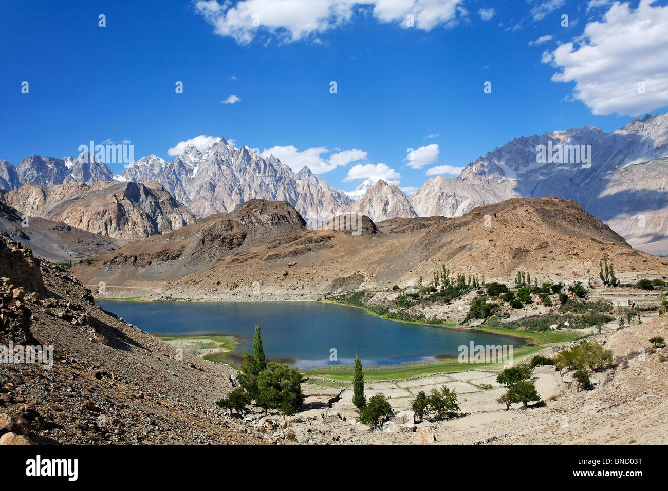 Borith Lake and mountains, Passu, Hunza Valley, Karakorum, Pakistan - Stock Image