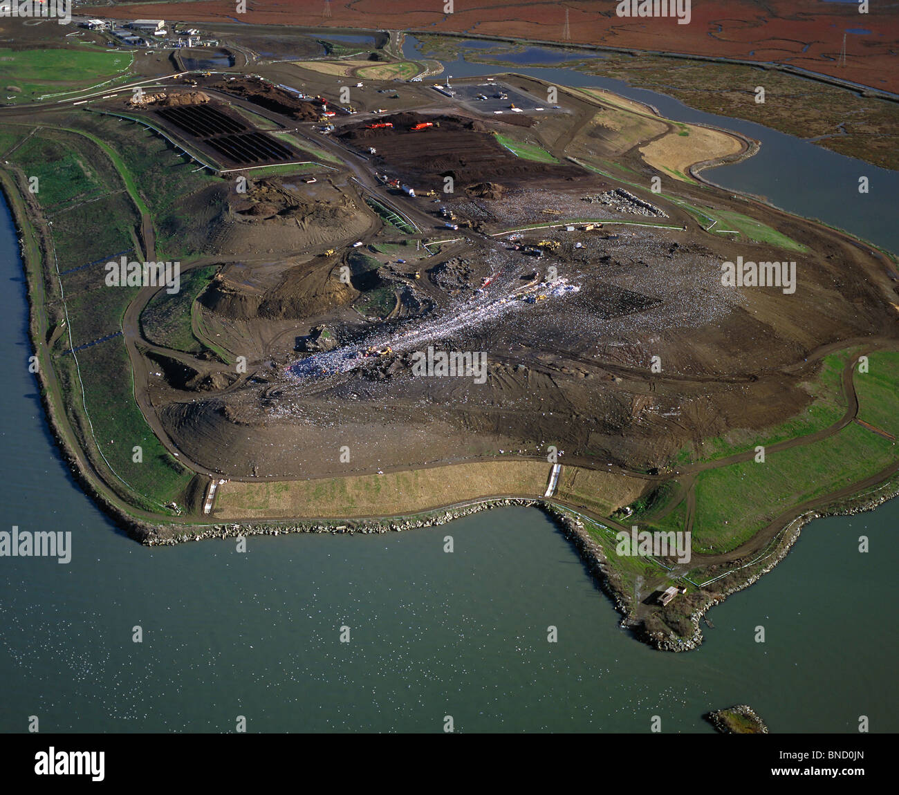 aerial view above West Contra Costa Sanitary Landfill Richmond California - Stock Image