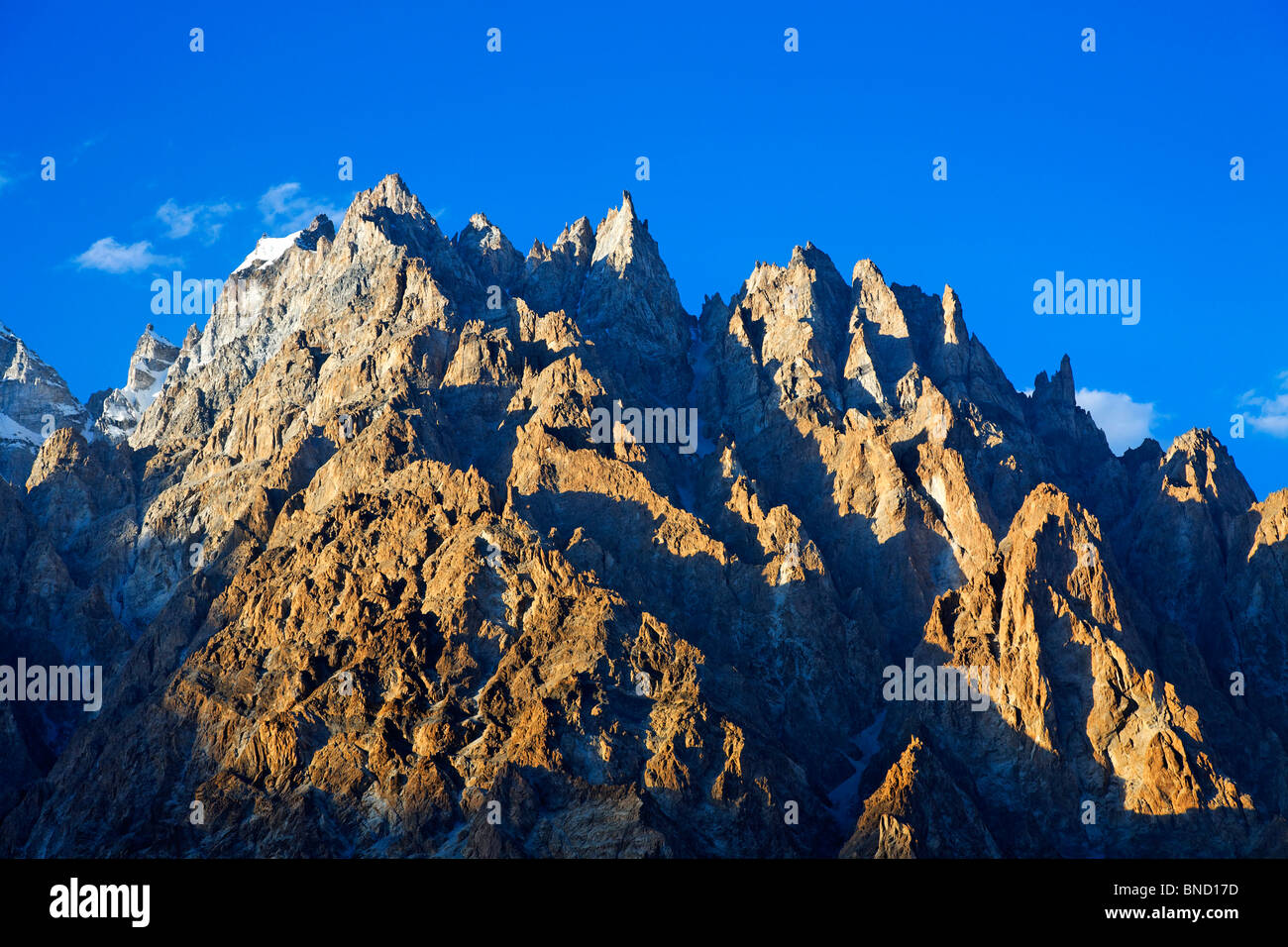 Cathedral spires mountain peaks, Passu, Hunza Valley, Karakorum, Pakistan - Stock Image
