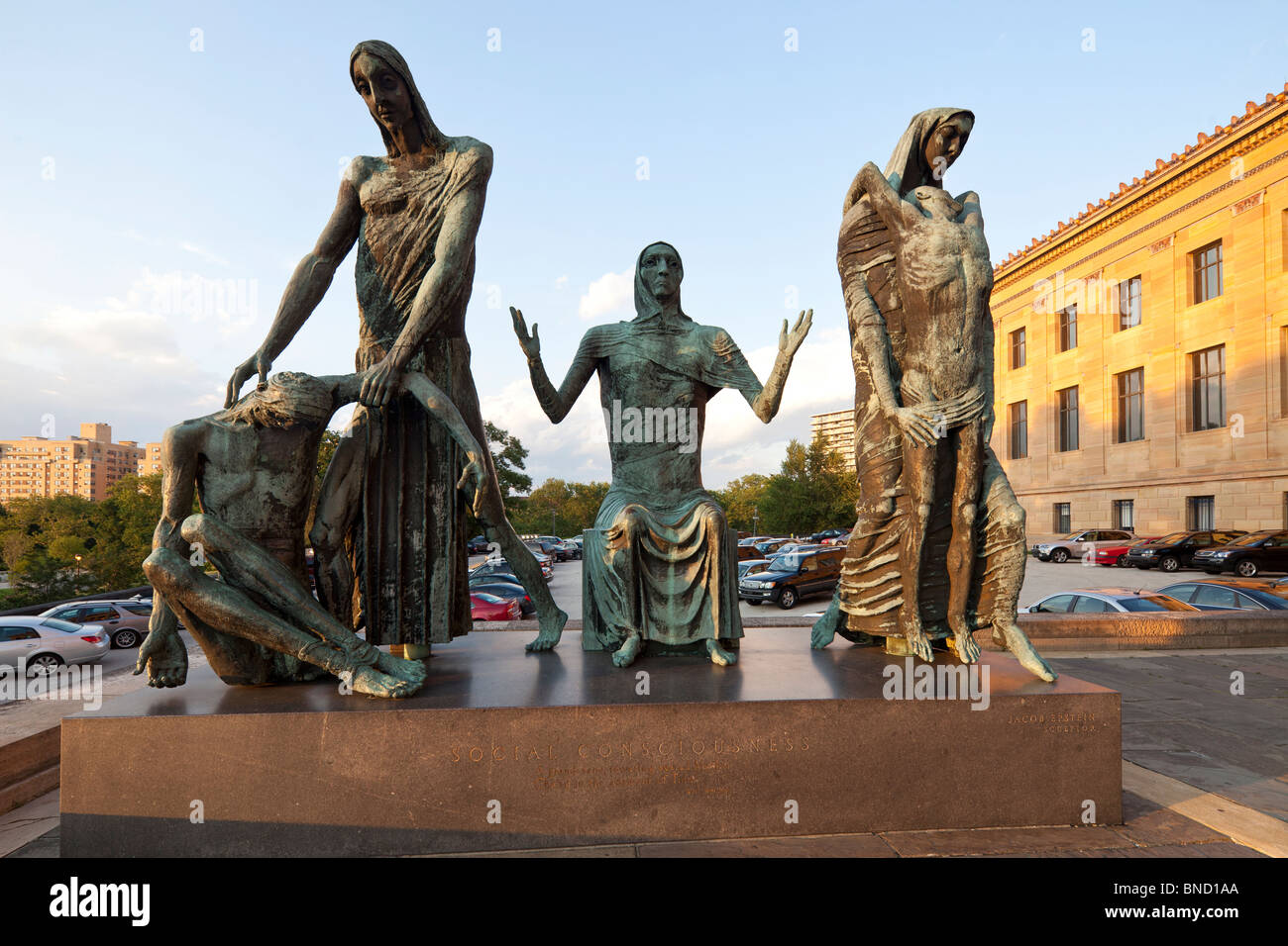 Statue of 'Social Consciousness' by Jacob Epstein, 1954, Philadelphia Museum of Art, Pennsylvania, USA - Stock Image
