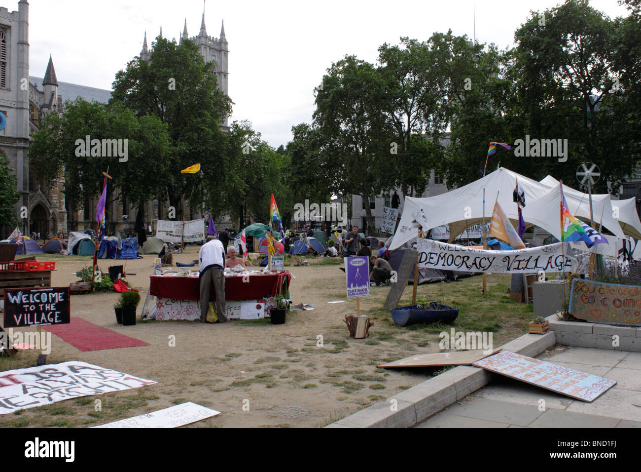 Democracy Village Peace Camp in Parliament Square Westminster London 6 July 2010 Stock Photo