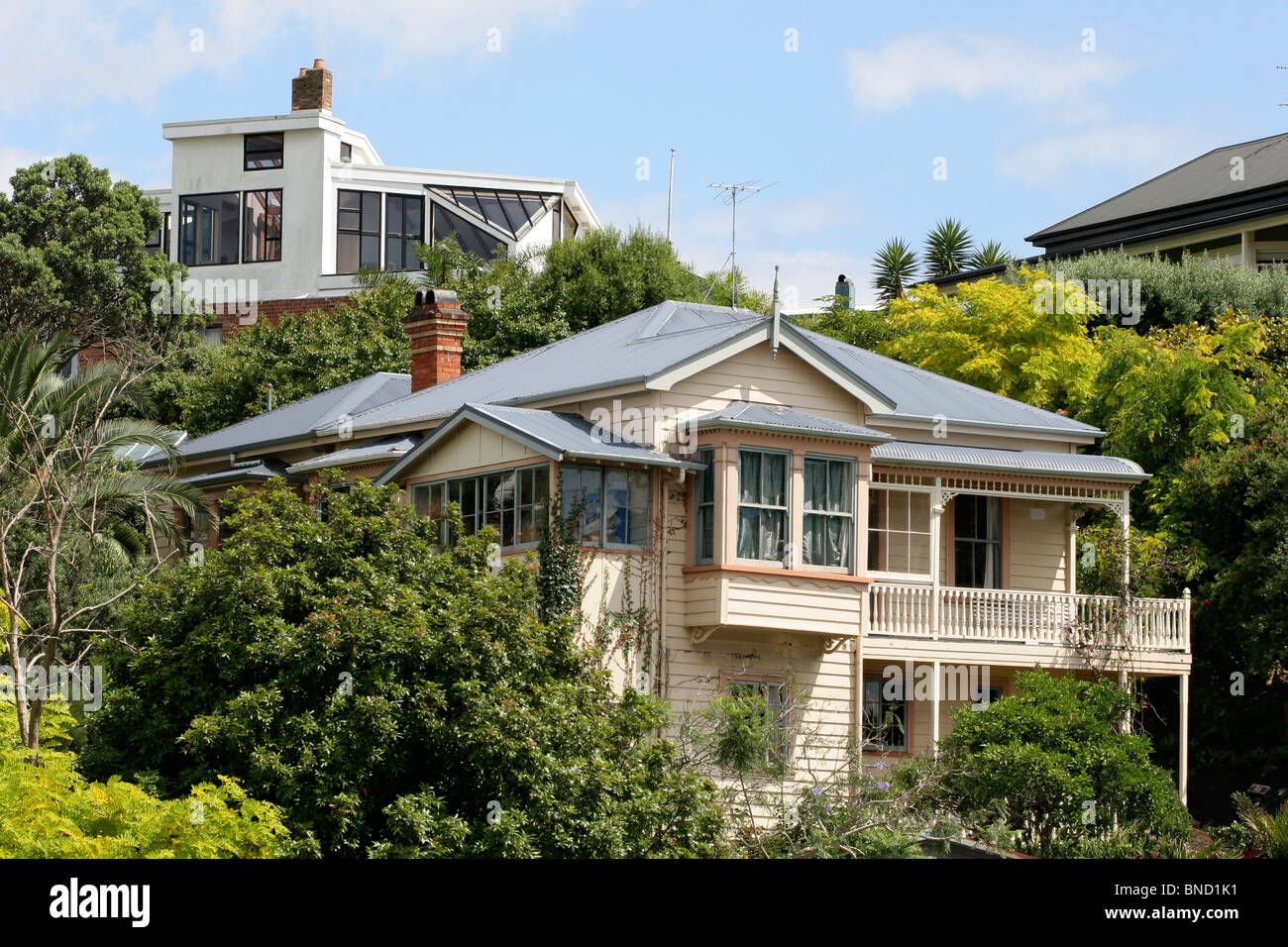DEVONPORT outside Auckland New Zealand 2010 with one-familly houses in modern and Victorian stile - Stock Image