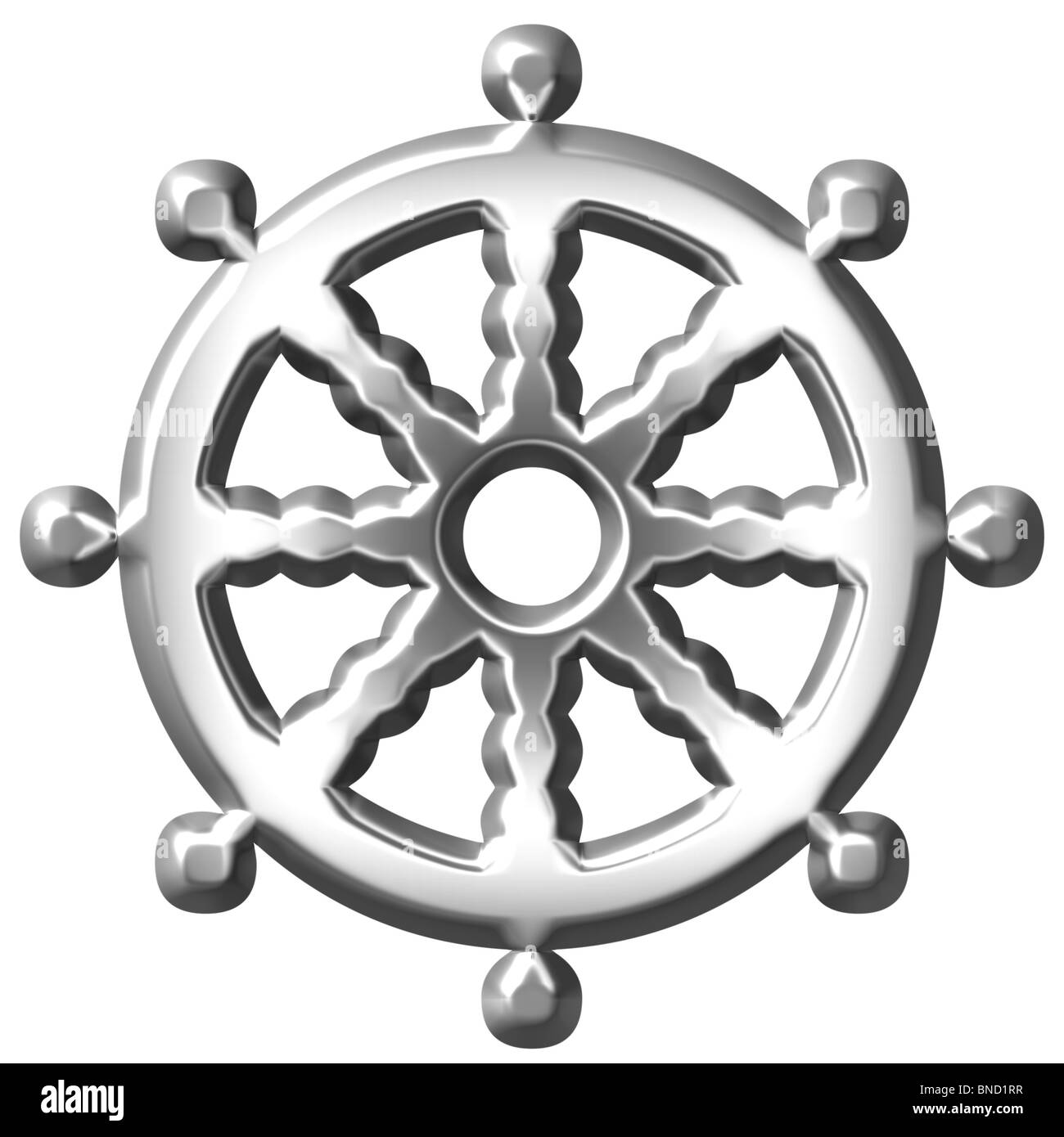 3d silver Buddhism symbol Wheel of Dharma - Stock Image