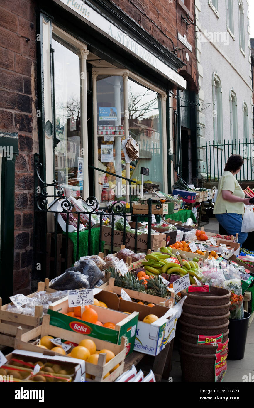 Greengrocer's shop, Appleby, Cumbria, England, UK. Stock Photo