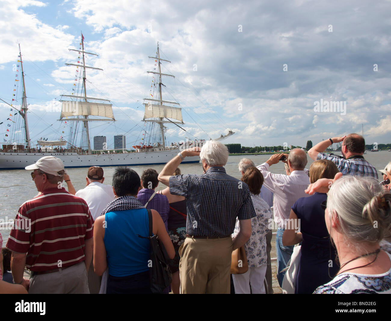 Many people watching the tall ship departure at the Antwerp tall ship races 2010 - Stock Image
