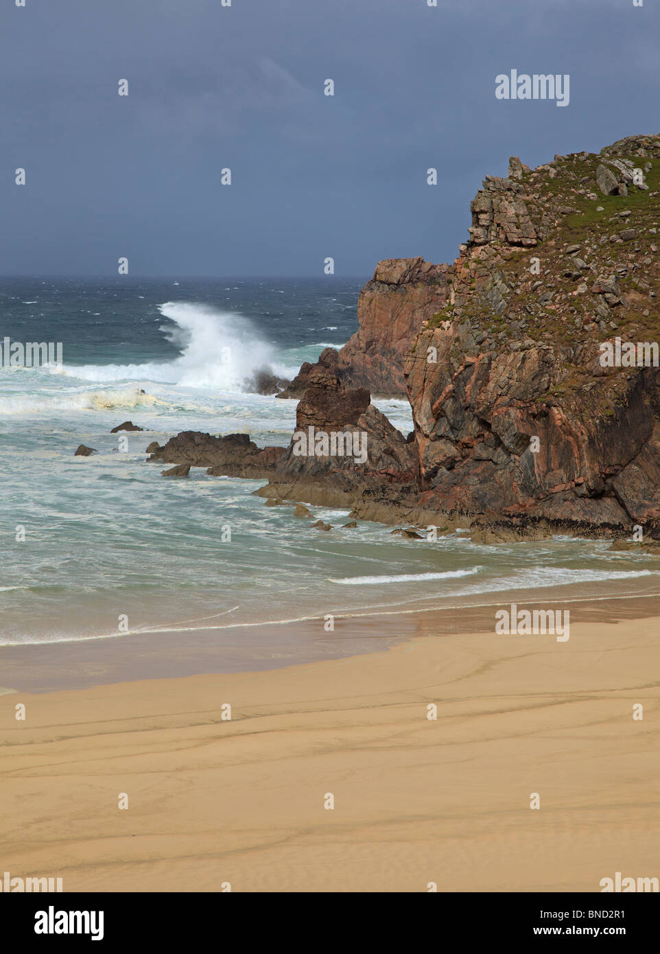 Breaking waves at Mangurstadh Beach on a very stormy summer day, Isle of Lewis, Outer Hebrides, - Stock Image