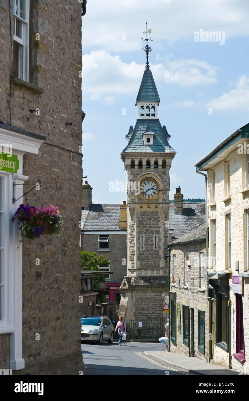 Town clock at Hay-on-Wye Powys Wales UK - Stock Image