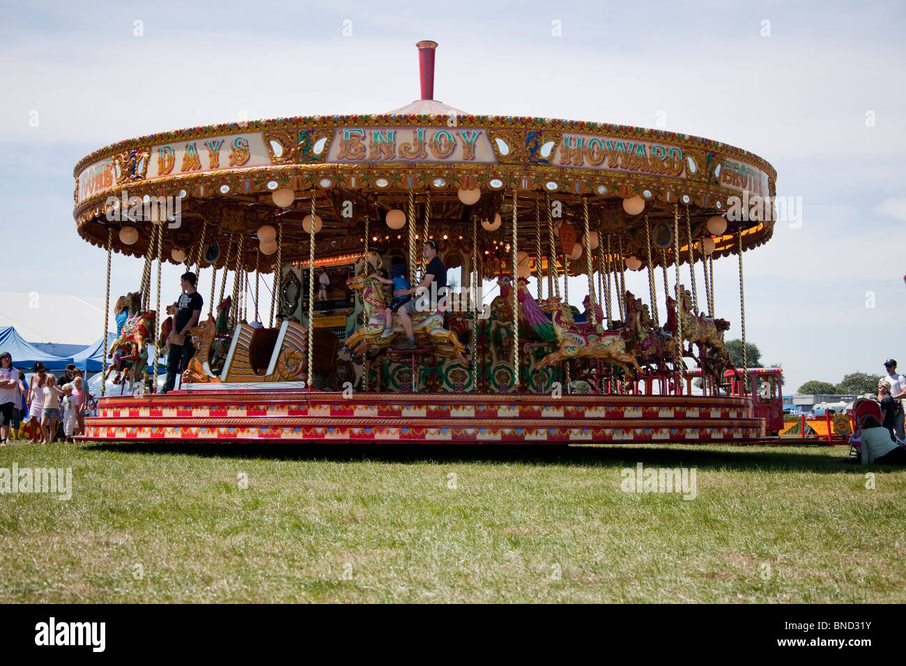 Carousel ride at Cheshire Show, Knutsford, England. - Stock Image