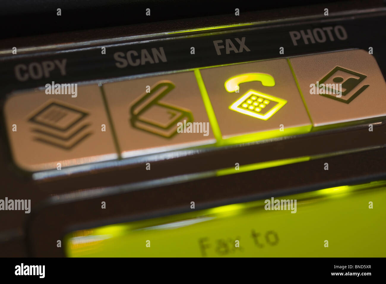 Control panel on a multifunction or All-In-One printer indicating selection of the fax option. - Stock Image