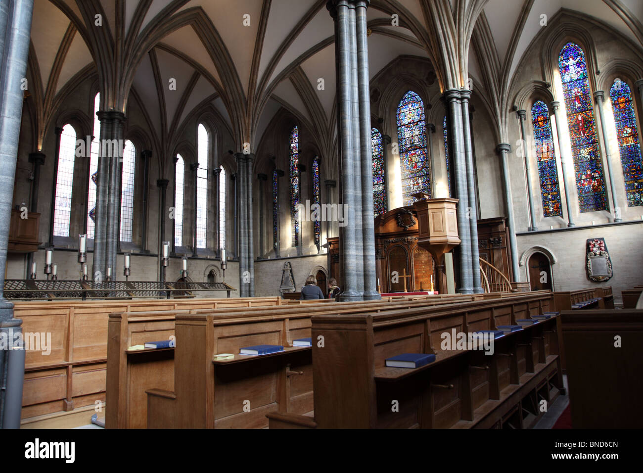 An interior view of the Knights Templar Church, The Temple, City of London, EC4. - Stock Image