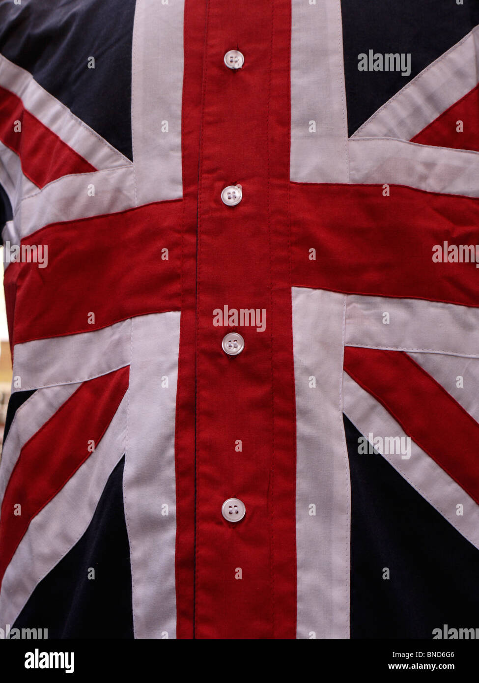 union jack flag on shirt, in shop display  carnaby street - Stock Image