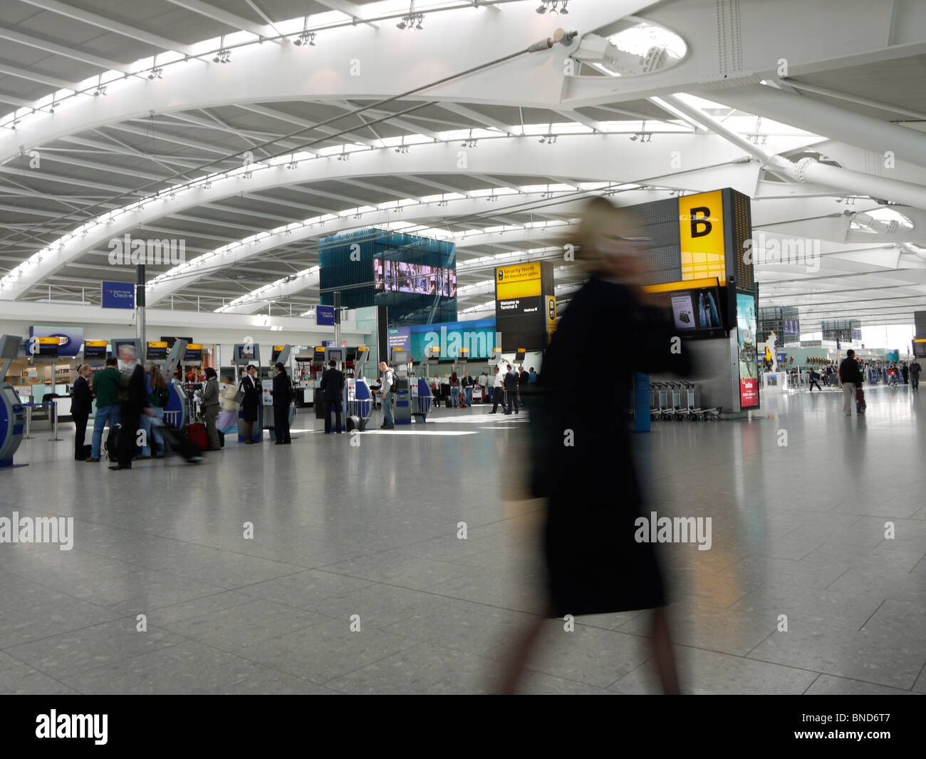 London Heathrow airport Terminal five 5 - Stock Image