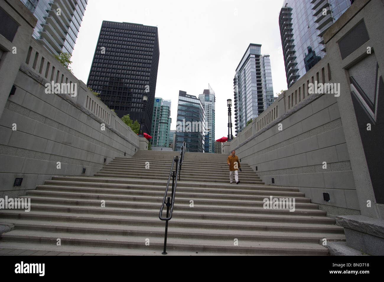 Residential properties, housing near Coal Harbour, Vancouver, with steps - Stock Image