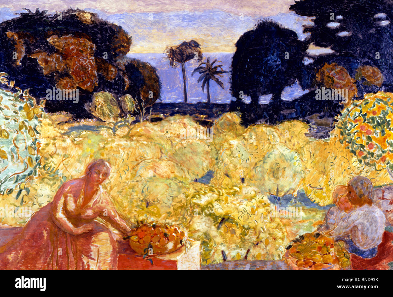 Woman And Children In Yellow Landscape by Pierre Bonnard, (1867-1947), Akram Ojjeh Collection - Stock Image