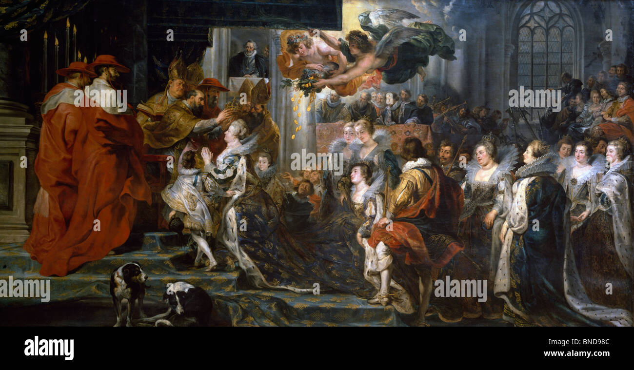 Coronation of Marie de Medici at St. Denis (Life of Marie de Medici Queen of France) by Peter Paul Rubens (1577 - Stock Image