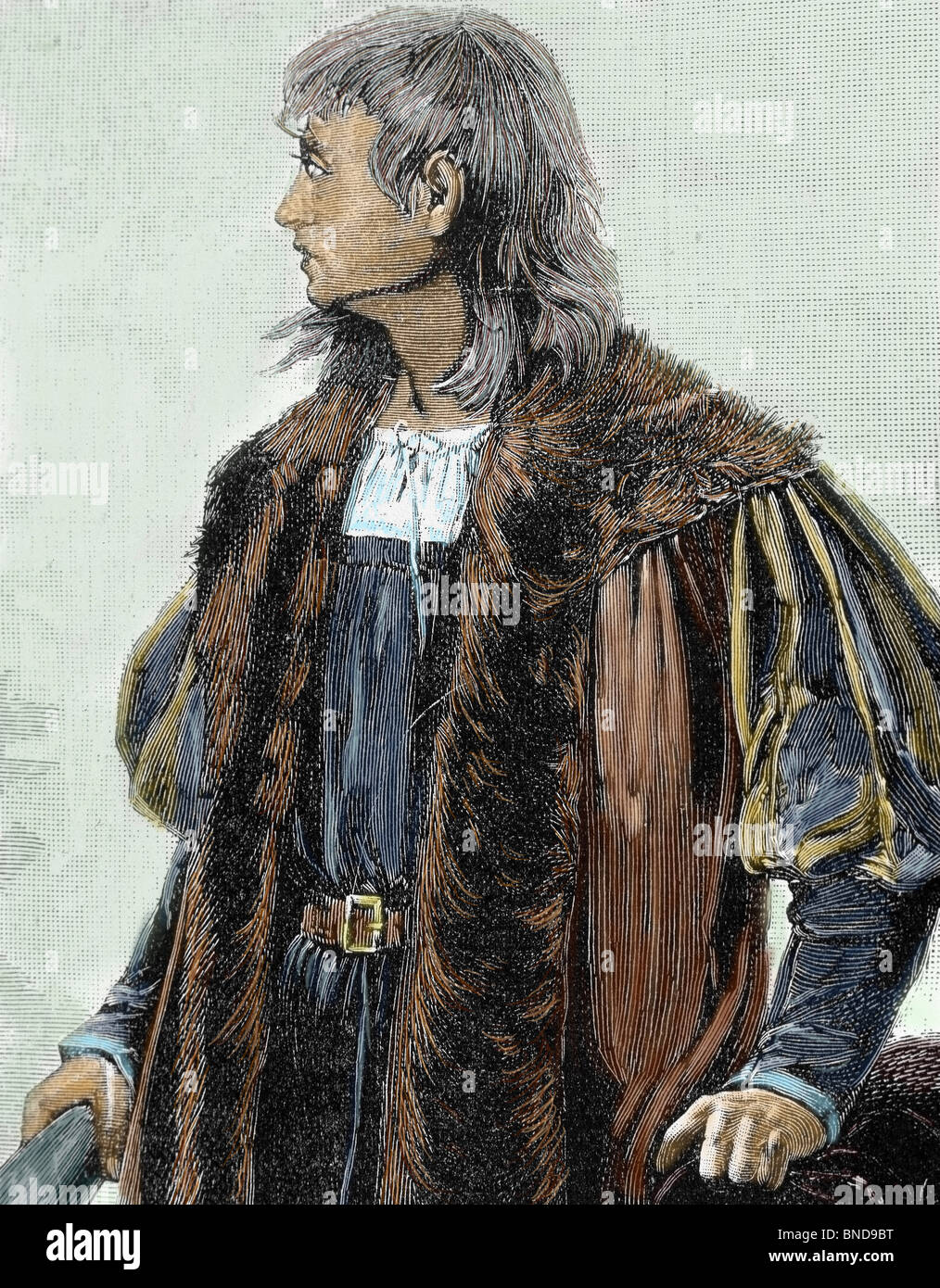Christopher Columbus (1451 -1506) . Navigator, colonizer, and explorer. Colored engraving. - Stock Image