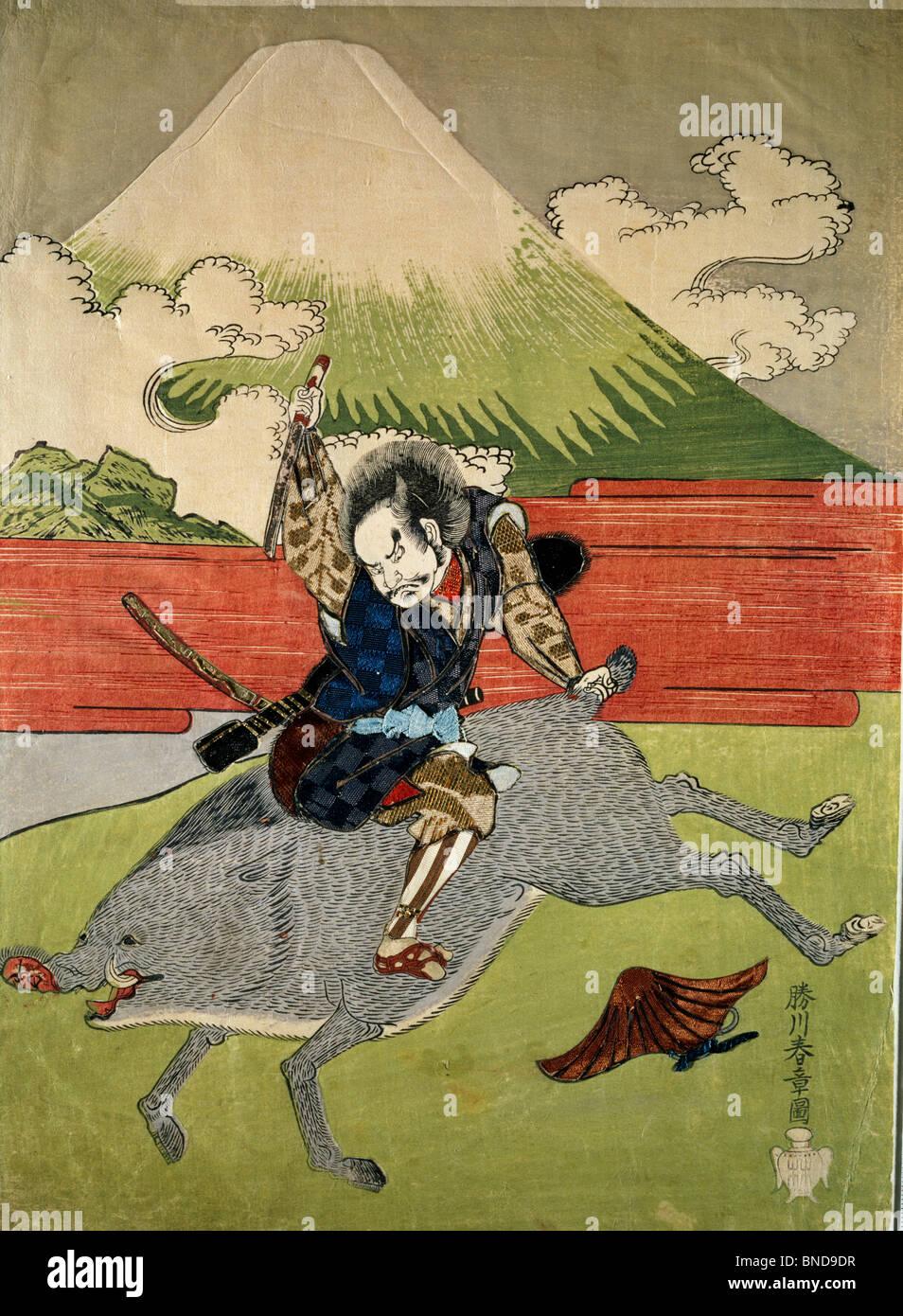 Man on Wild Boar, Japanese woodcut - Stock Image