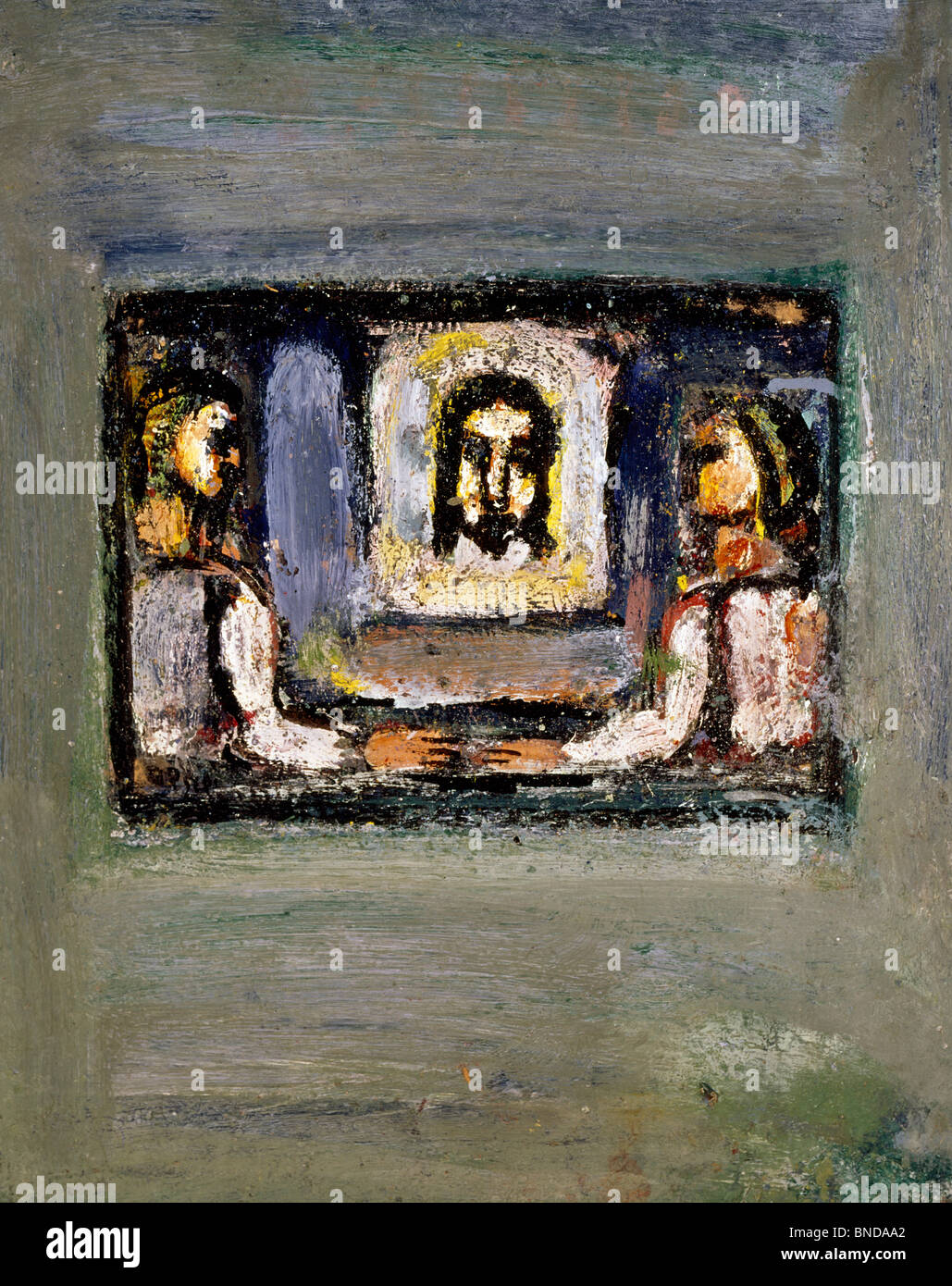 Scene of the Passion: Head of Christ Carried by Two People by Georges Rouault, (1871-1958), USA, Texas, Private - Stock Image