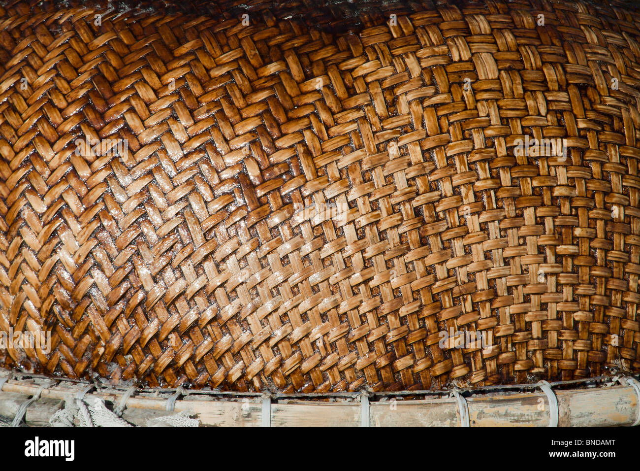 Fishing boat detail of weaving pattern Vietnam - Stock Image