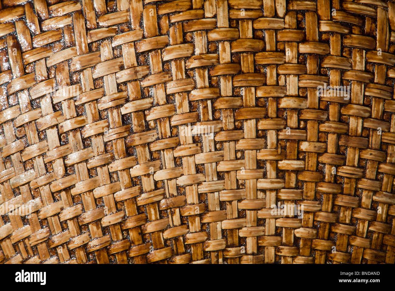 Fishing boat detail of weaving pattern Vietnam - Stock Image