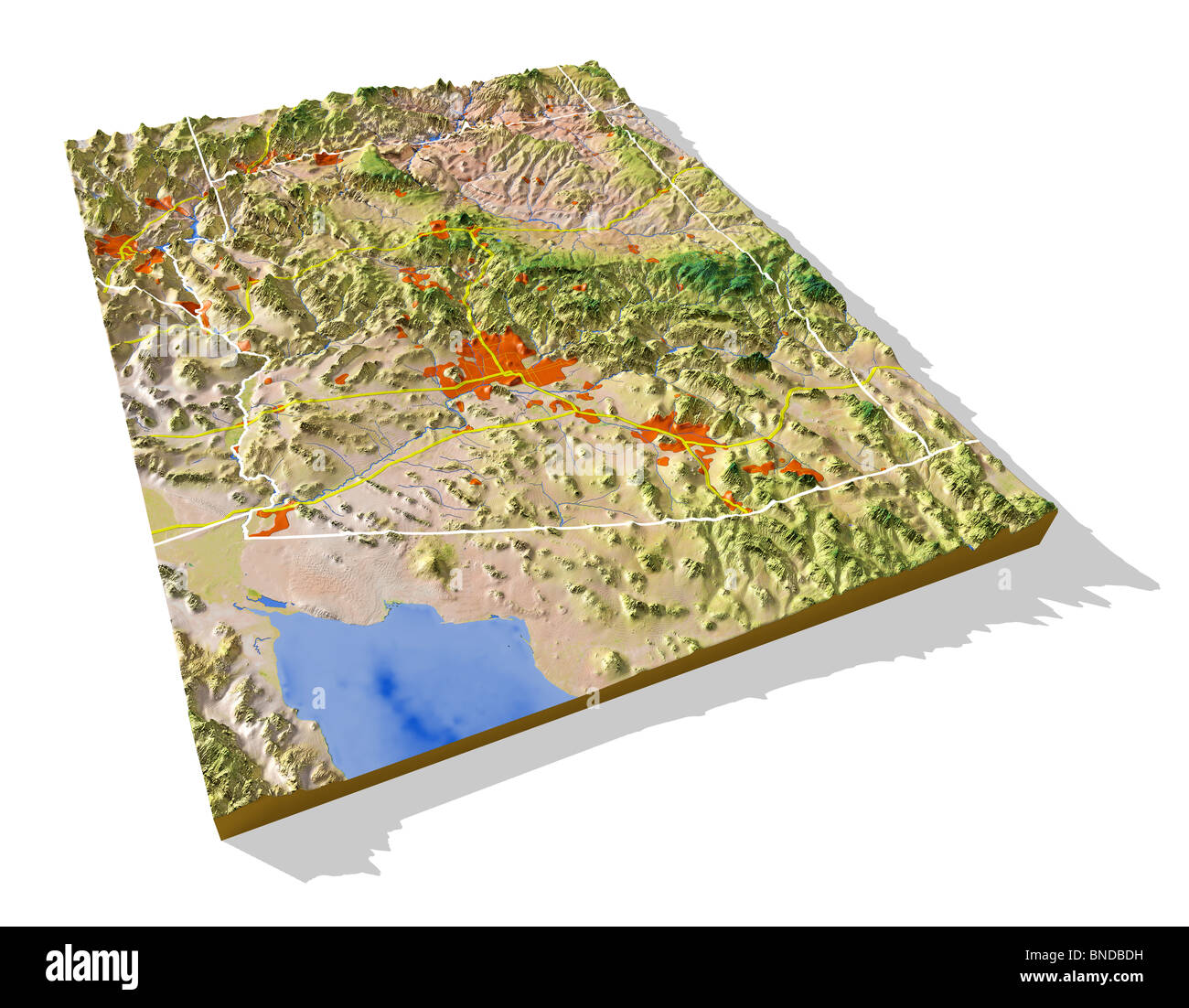 3d Map Of Arizona.Arizona 3d Relief Map With Urban Areas Interstate Highways And