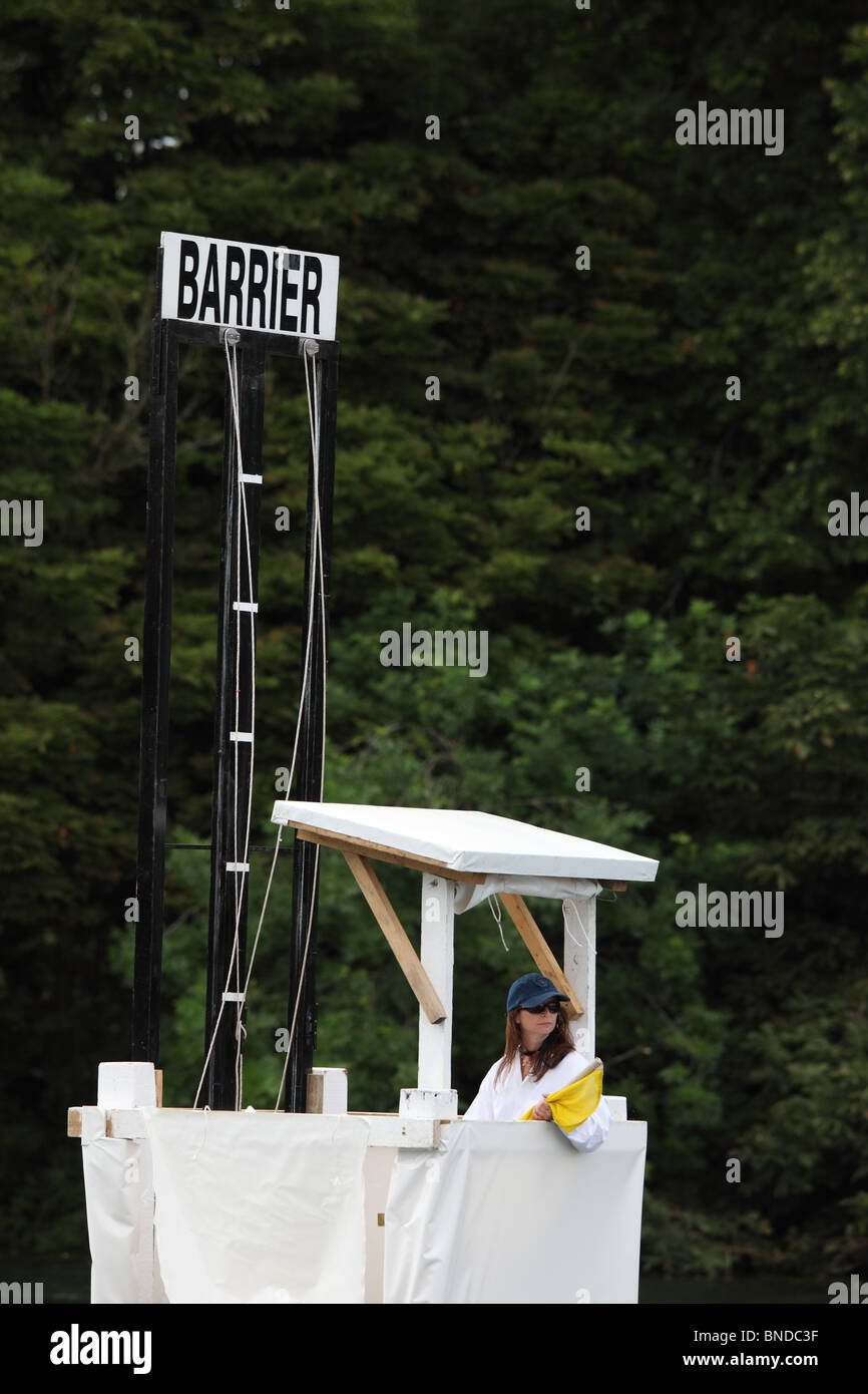 A sign on the course at Henley regatta on the river Thames - Stock Image