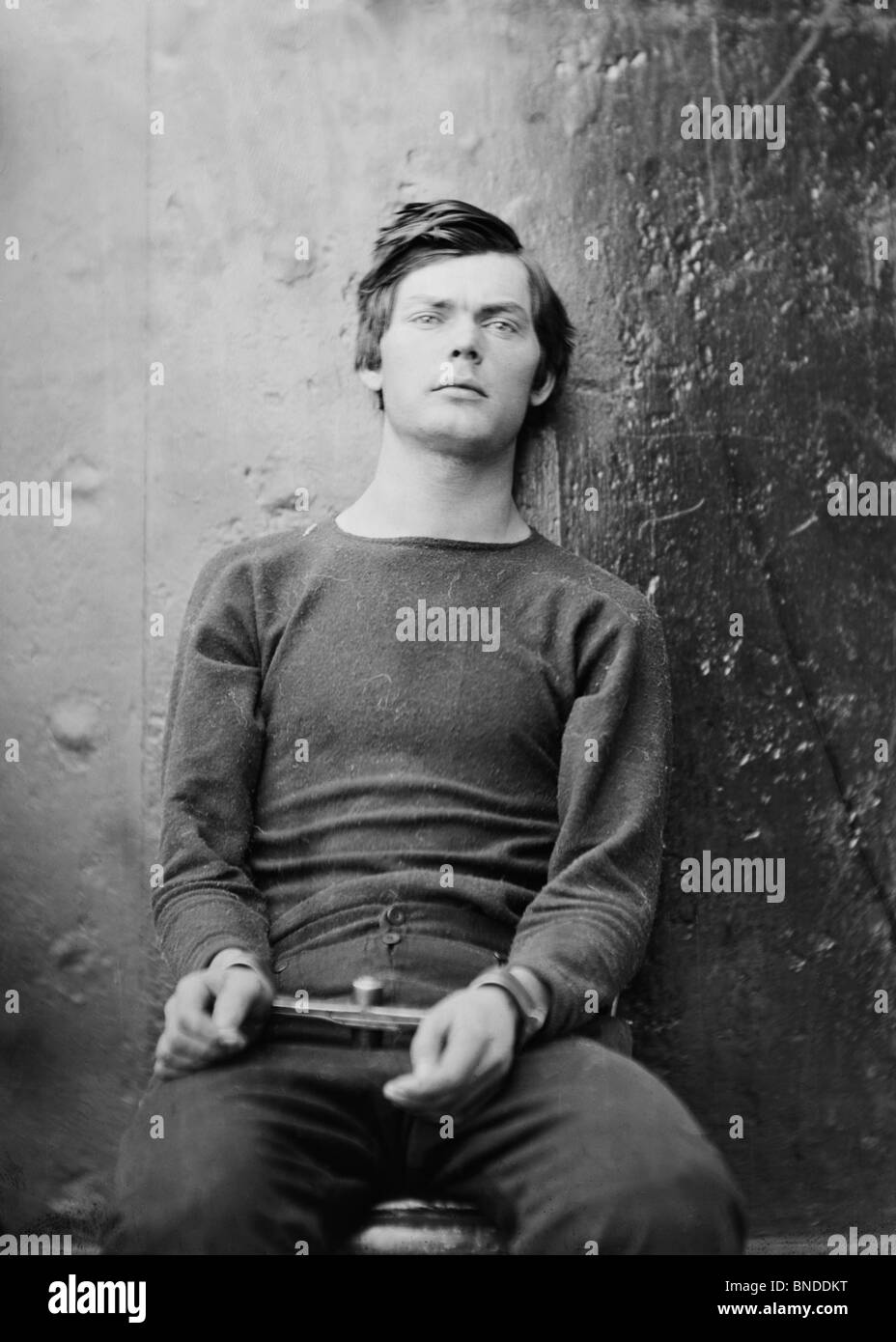 Conspirator Lewis Powell in irons after the assassination of US President Abraham Lincoln in April 1865 - Powell - Stock Image
