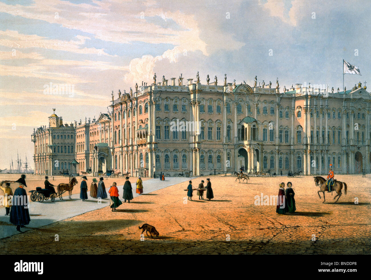 Zimny Palace by F. Perrot lithograph, watercolor - Stock Image