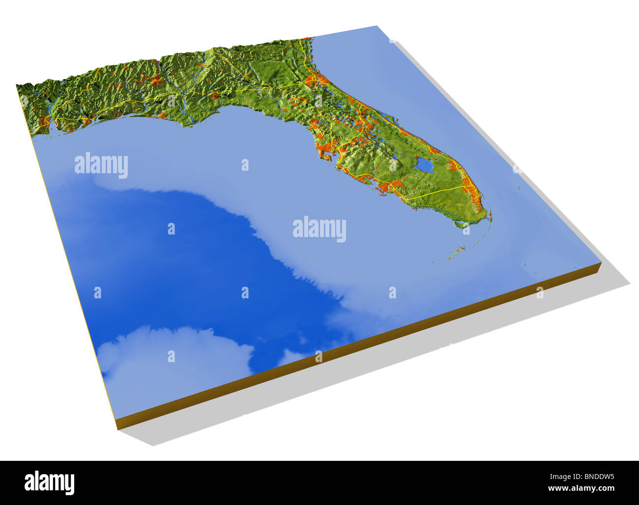 Florida, 3D relief map with urban areas and interstate highways