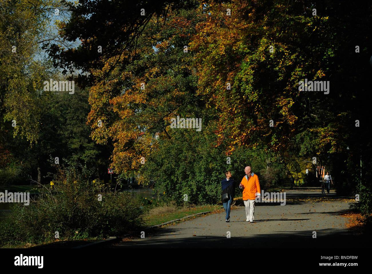 Grosser Tiergarten park at Landwehrkanal in fall, Tiergarten district, Berlin, Germany, Europe - Stock Image