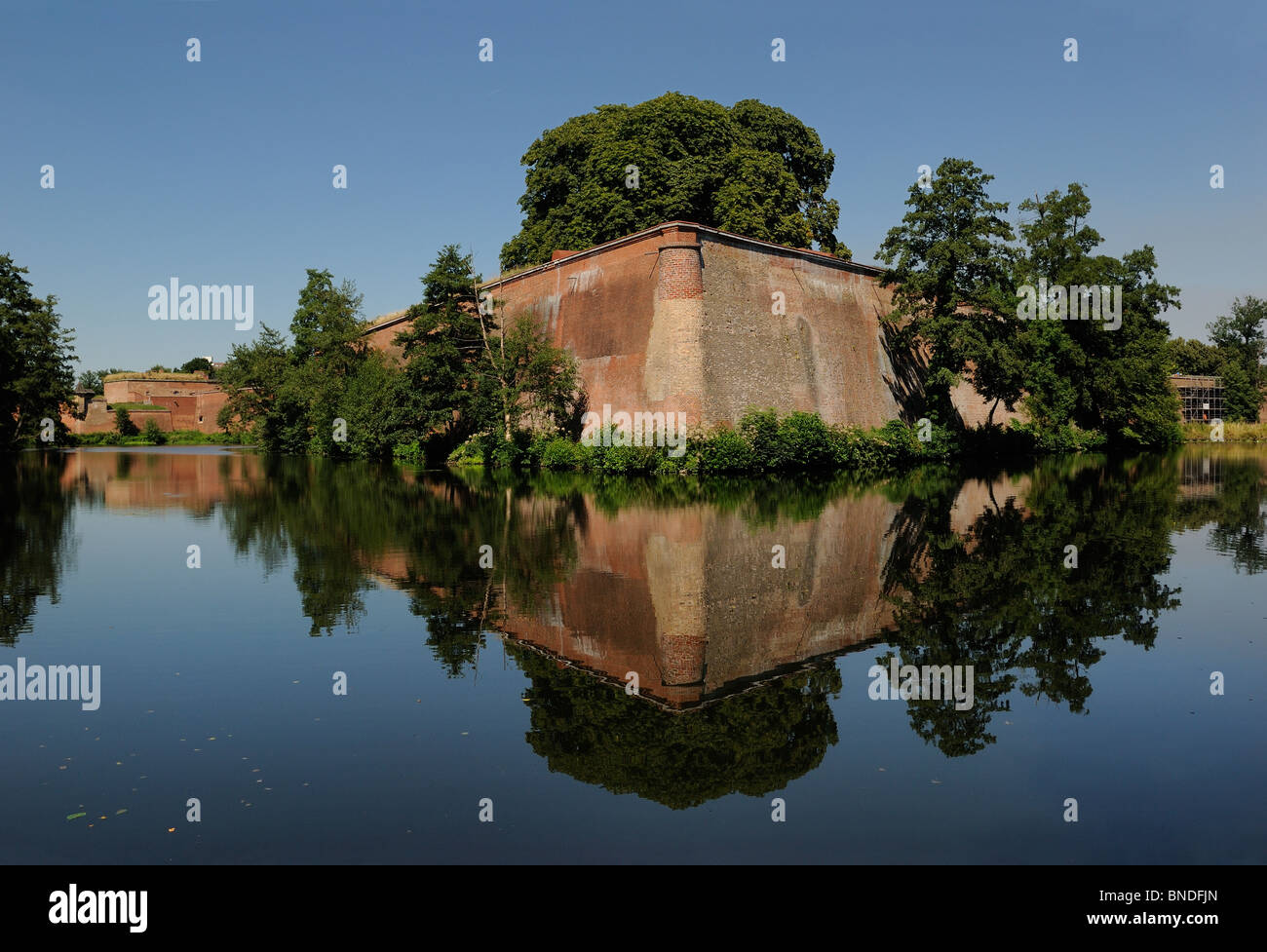 Spandau Citadel, Bastion Koenig and moat, Renaissance fortress, Spandau, Berlin, Germany, Europe Stock Photo