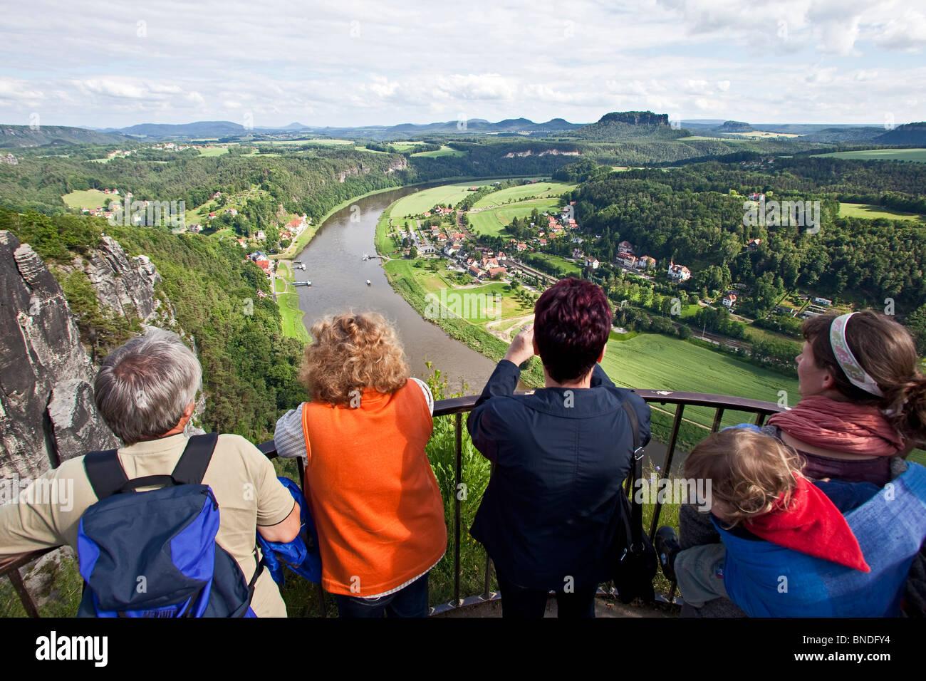 View from the Bastei on the river Elbe, elbsandsteingebirge, Saechsische Schweiz, SAXONY, GERMANY - Stock Image