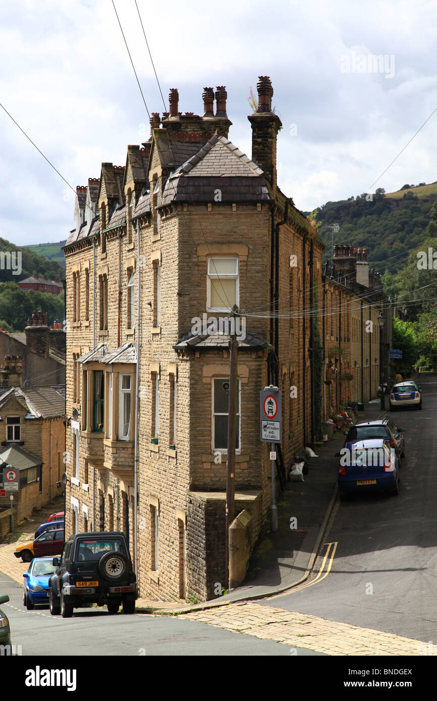 Top and bottom houses in Hebden Bridge Yorskshire - Stock Image