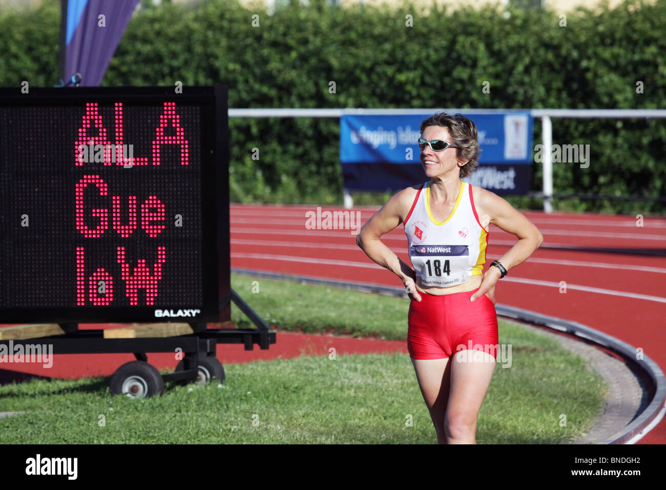 Gail Griffiths Isle of Man 45 year old 10000m Natwest Island Games 2009 at Wiklöf Holding Arena Mariehamn June - Stock Image