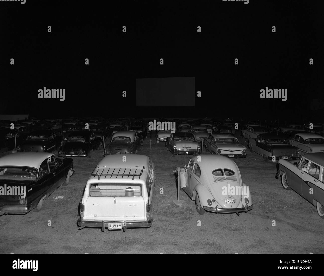 Cars parked at a Drive-in Theater, White River Junction, Vermont, USA Stock Photo