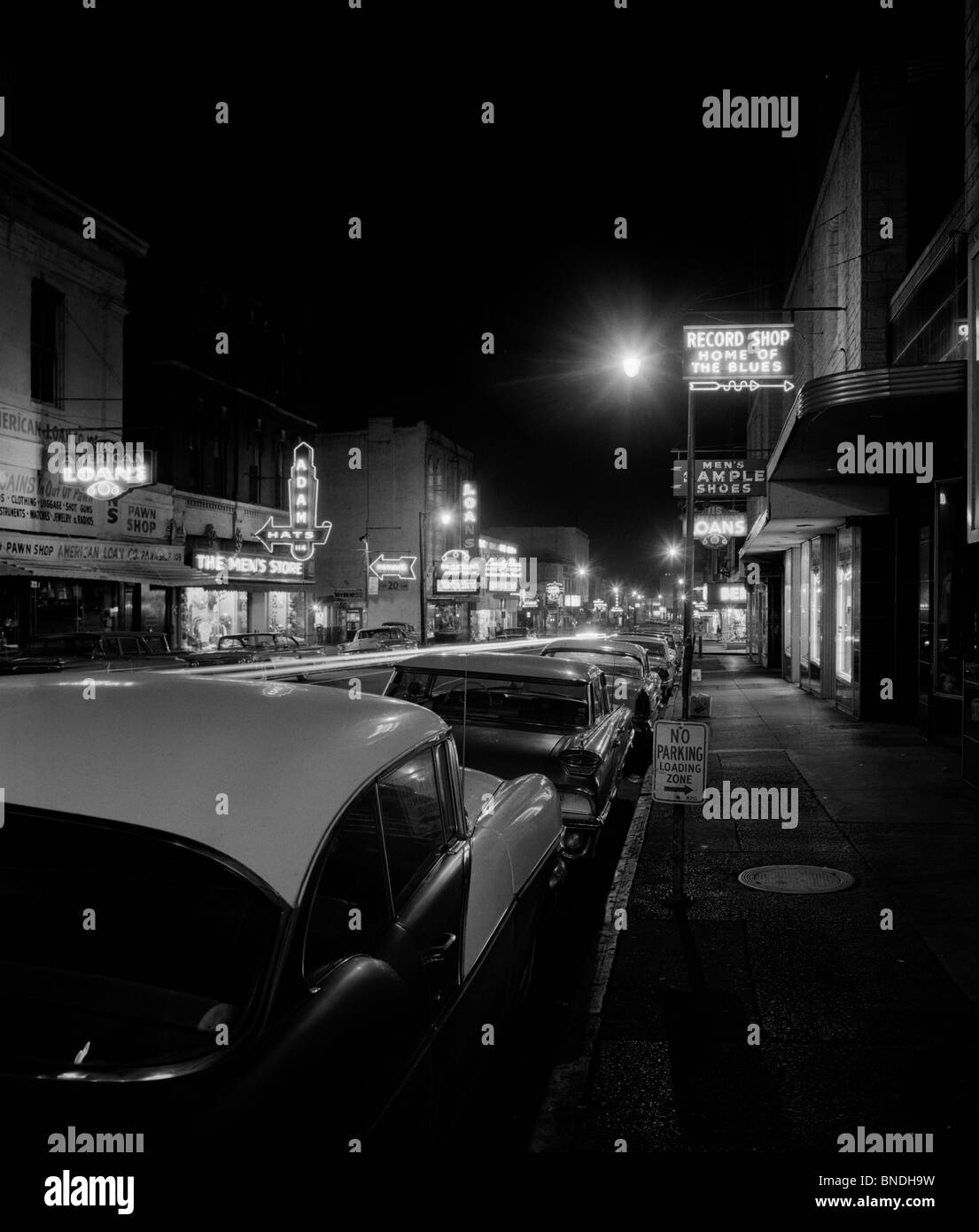 Cars parked in a street, Beale Street, Memphis, Tennessee, USA - Stock Image